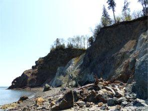 A melange of fault zone rocks on the shore at Clarke Head, Nova Scotia, Canada.