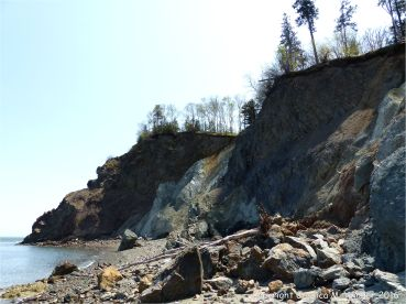 A melange of fault zone rocks on the shore at Clarke Head, Nova Scotia, Canada.