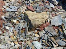 Broken rocks on the beach at Clarke Head, Nova Scotia, Canada.