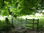 Rural view with stile in summer on the Cerne Valley Trail, Dorset, England.