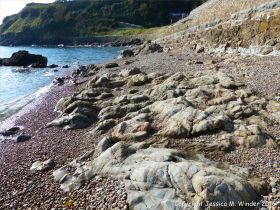 Metamorphic rocks on the shore of Havelet Bay