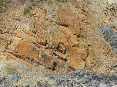 Colour, texture. and pattern in the rock face at Presqu'ile close to the fault on the Cabot Trail in Cape Breton Island