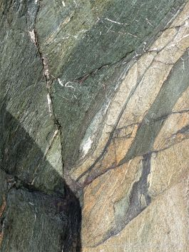 Phyllite rock showing minor faults on the Cabot Trail in Cape Breton Island