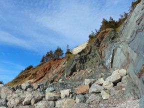 Phyllite rock face adjacent to a fault zone on the Cabot Trail in Cape Breton Island
