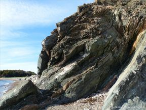 Phyllite rock face on the Cabot Trail in Cape Breton Island