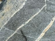 Close-up of St Peter Port Gabbro with veins at Spur Bay on the Channel Island of Guernsey