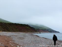 View of the pebble beach at Pleasant bay along the cabot Trail in Cape Breton Island, Nova Scotia.
