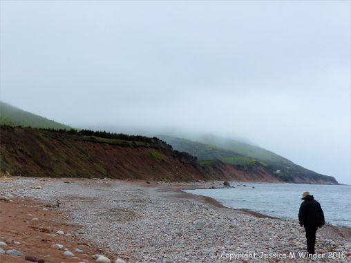 View of the pebble beach at Pleasant bay along the cabot Trail in Cape Breton Island, Nova Scotia.