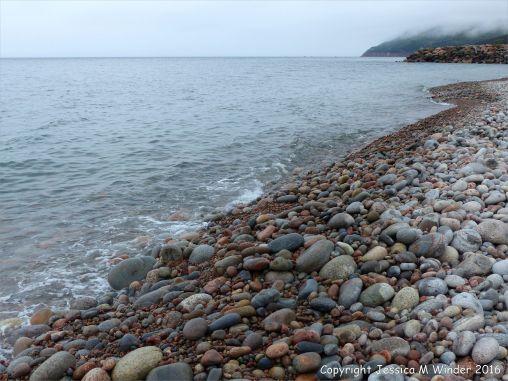 The pebble shore at Pleasant Bay, in Cape Breton, NS