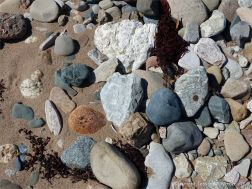 Assorted beach stones on the shore at Crystal Cliffs Beach