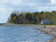 View looking south towards the tidal inlet to Ogden's Pond behind Crystal Cliffs Beach