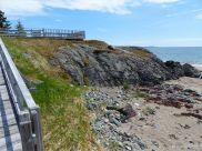 View of the basalt outcrop from the boardwalk at Main a Dieu, on Cape Breton Island, Nova Scotia, Canada.