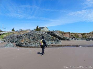 View of the basalt outcrop from the beach at Main a Dieu, on Cape Breton Island, Nova Scotia, Canada.