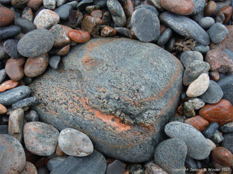 Beach boulder at Corney Brook on the Cabot Trail on Cape Breton Island