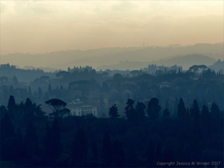 Vista of hazy hills in Tuscany