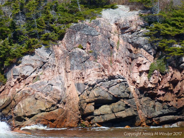Patterns of dykes in granite in the cliffs at Black Brook Cove