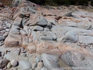Aplite and pegmatite dykes in granite