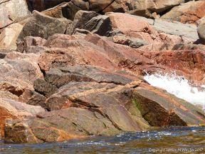 Colourful rocks on the seashore