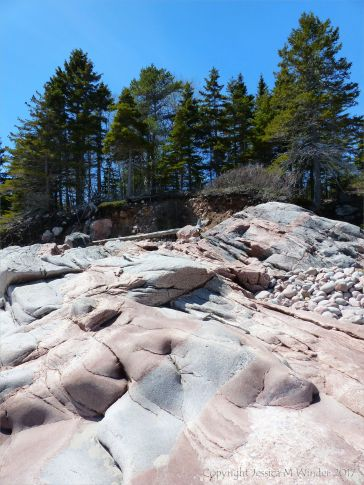 Water-worn granite outcrop with patterns of dykes at Black Brook Cove