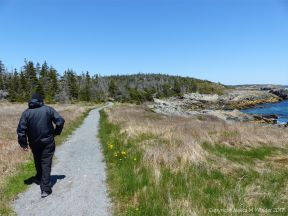 The start of the trail from Louisbourg Lighthouse to Morning Star Cove on Cape Breton Island