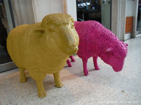 Sheep sculptures outside a shop on Waterloo Station