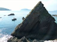 Pyramid shaped rock at Dunquin Harbour