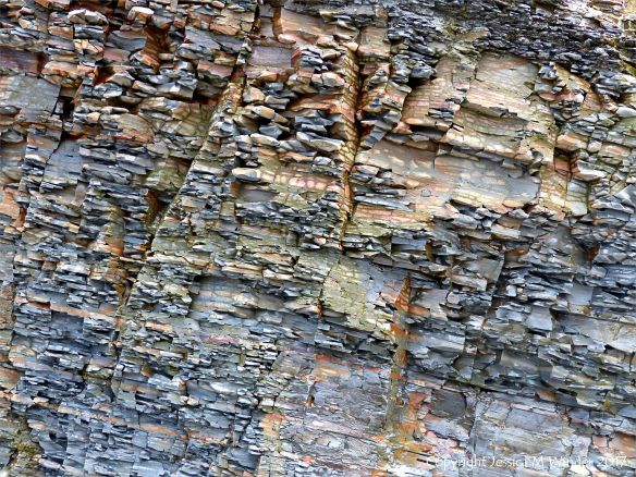 Rock texture and pattern in limestone cliff strata