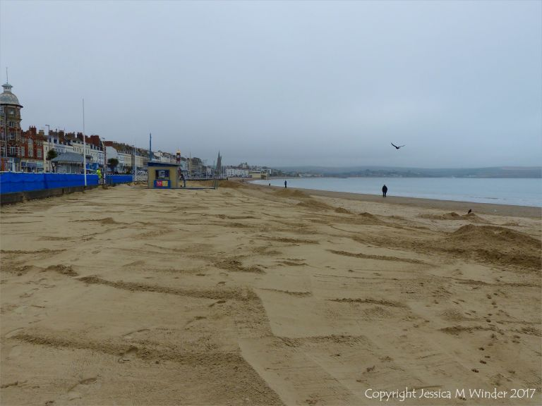 Fresh clean sand newly distributed over Weymouth Beach