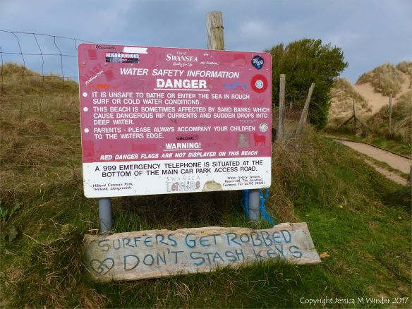 Warning sign at Hill End car park, Gower