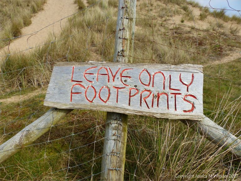 Leave only footprints sign at Hill End, Gower