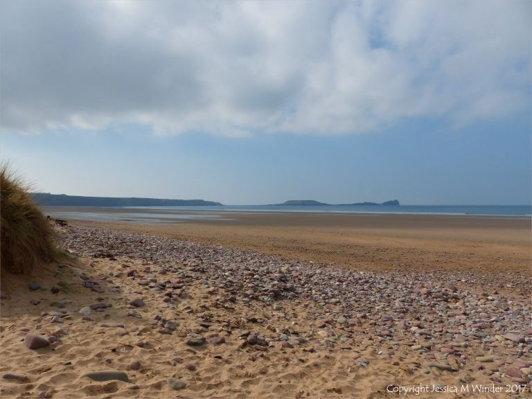 Looking south towards Worms Head at Rhossili, Gower