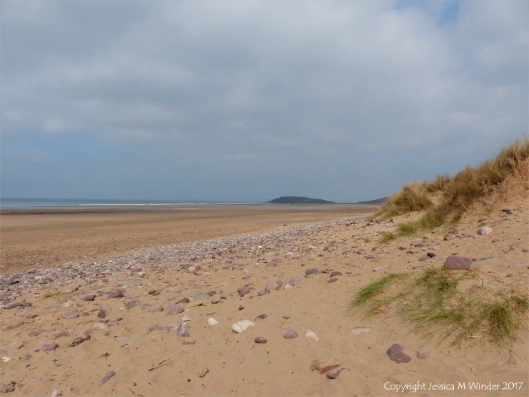 Looking north towards Burry Holms at Rhossili, Gower