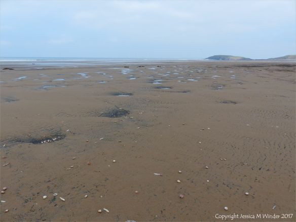 Sandy hollows scooped out of the shore at Rhossili