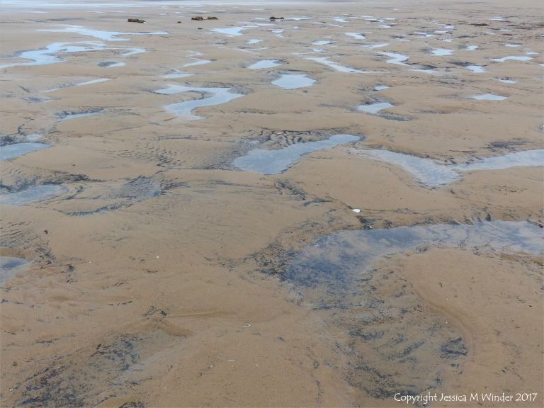 Water-filled sandy hollows on Rhossili beach, Gower