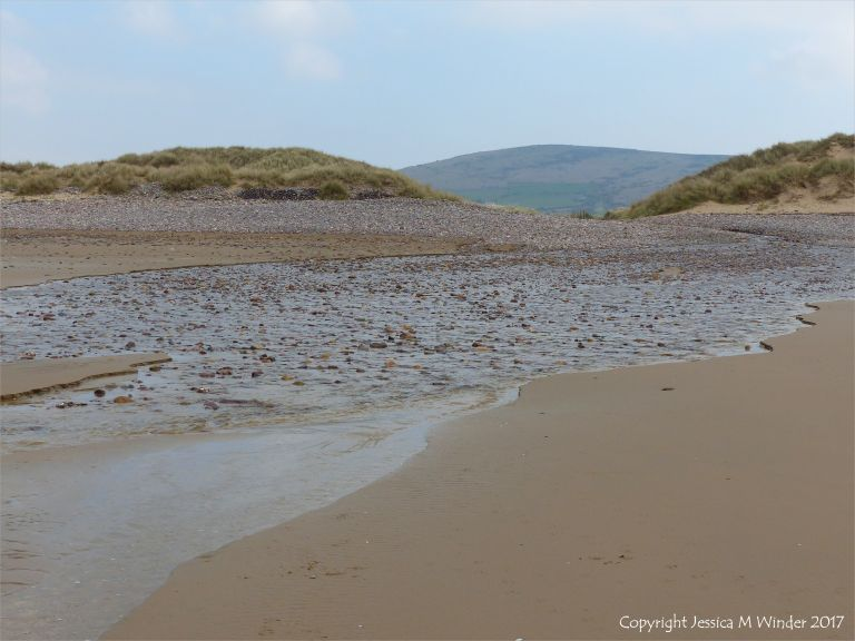 Looking upshore at Diles Lake on Rhossili beach