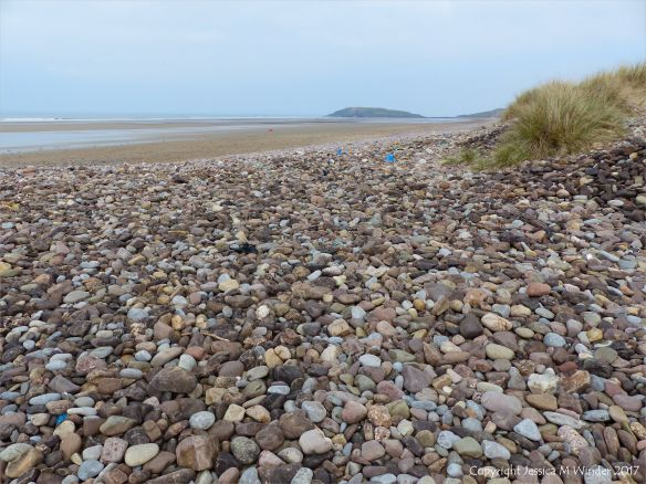 Pebble bank near Diles Lake at Rhossili