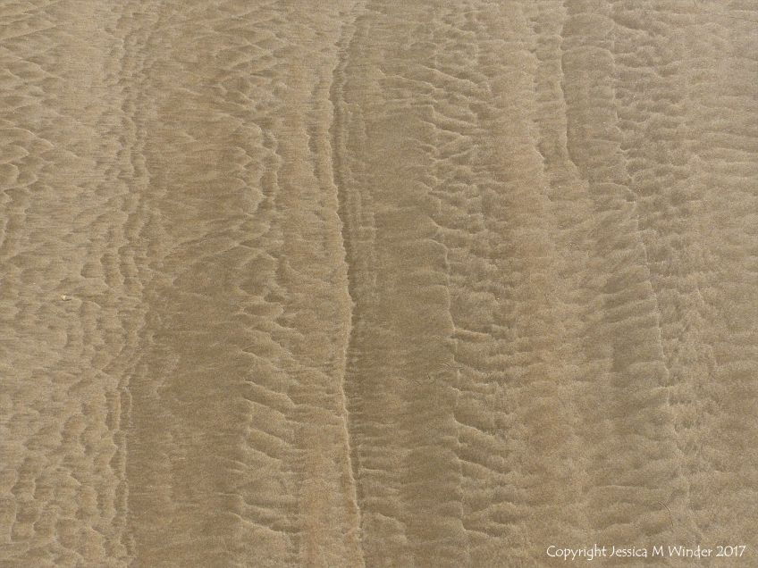 Patterns in the sand near Spaniard Rocks on Rhossili Beach in Gower