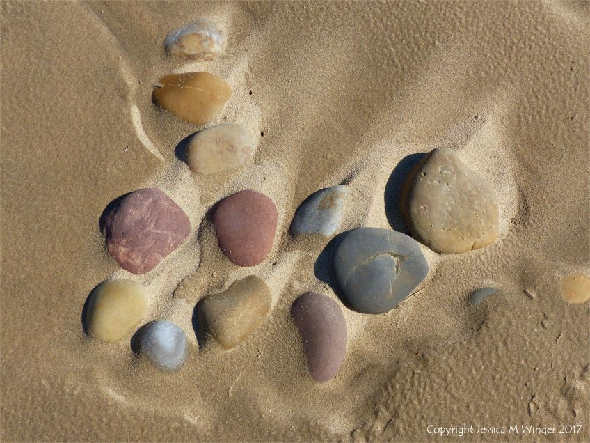 A natural arrangement of coloured pebbles in damp but drying sand