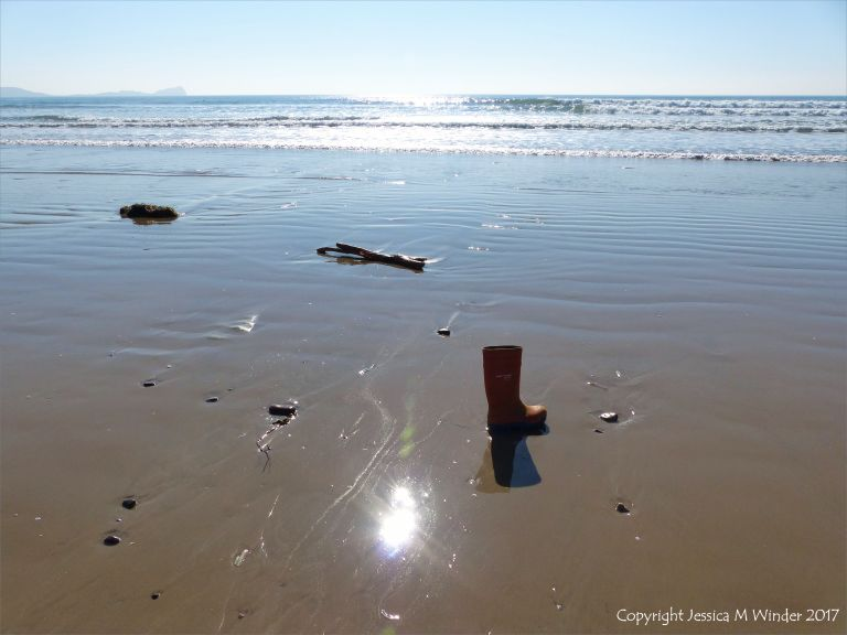 Flotsam with an orange rubber boot washed up on a sandy beach