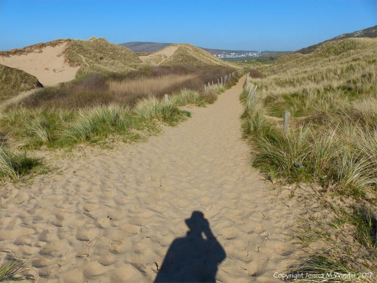Pathway through sand dunes from Rhossili beach to Hill End car park