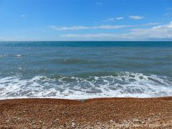 Looking out to sea from Seatown beach in Dorset, England.