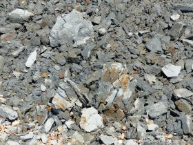 Shattered pieces of Eype Clay from a minor cliff fall