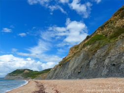 Precarious cliffs at Seatown, Dorset, are subject to land slips and rock falls
