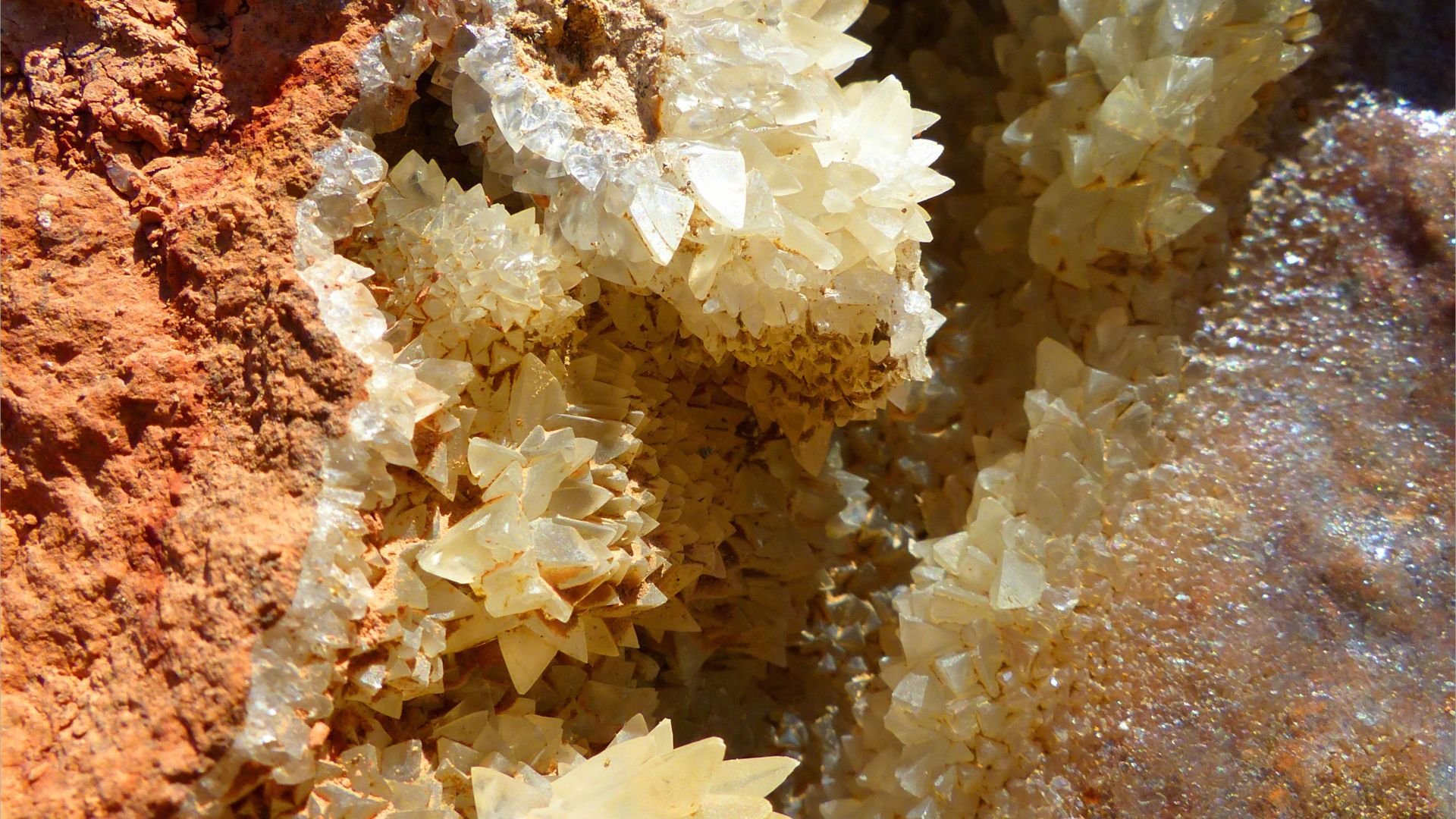 Crystal structure within a beach boulder