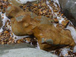 Beach boulder splashed by waves
