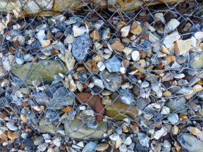 Close-up of a gabion sea defence structure