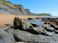 View of Seatown Beach in Dorset, England.