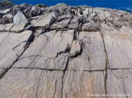Rock texture in compacted volcanic ash or tuff