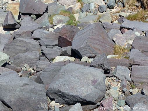 Rock texture in boulders of compacted volcanic ash or tuff