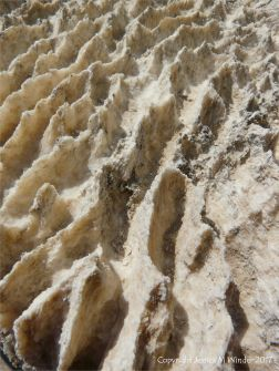 Ridge and furrow texture and pattern on the eroded surface of gypsum building blocks